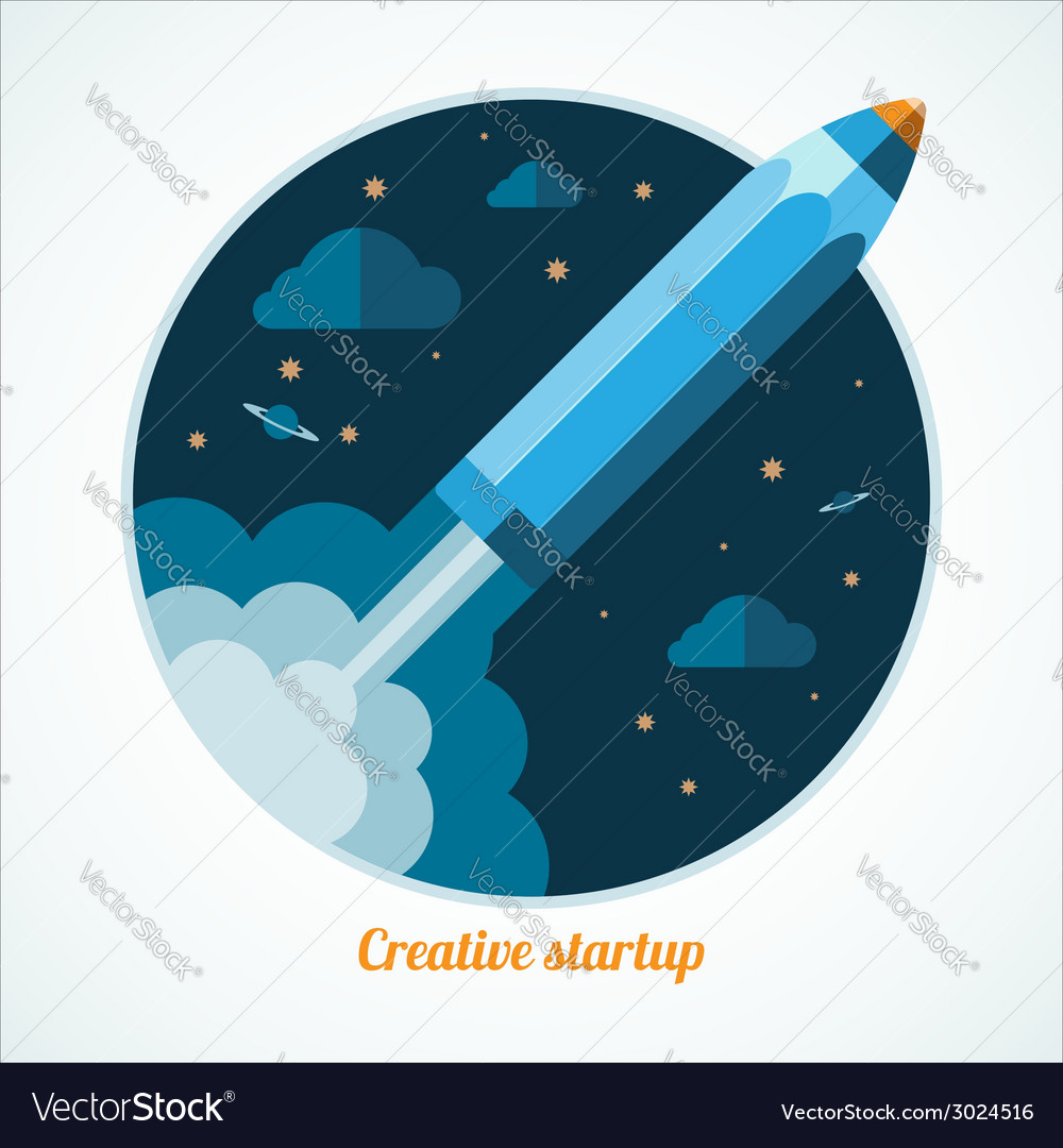 Modern startup concept with starting pen rocket vector | Price: 1 Credit (USD $1)