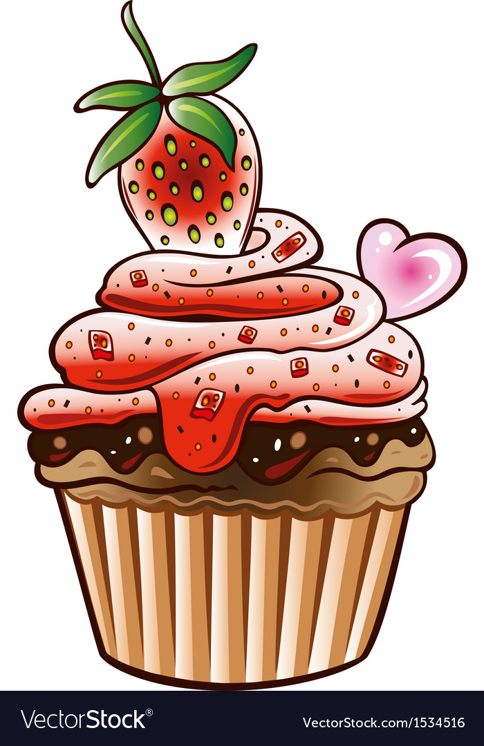 Muffin cupcake strawberry vector | Price: 1 Credit (USD $1)