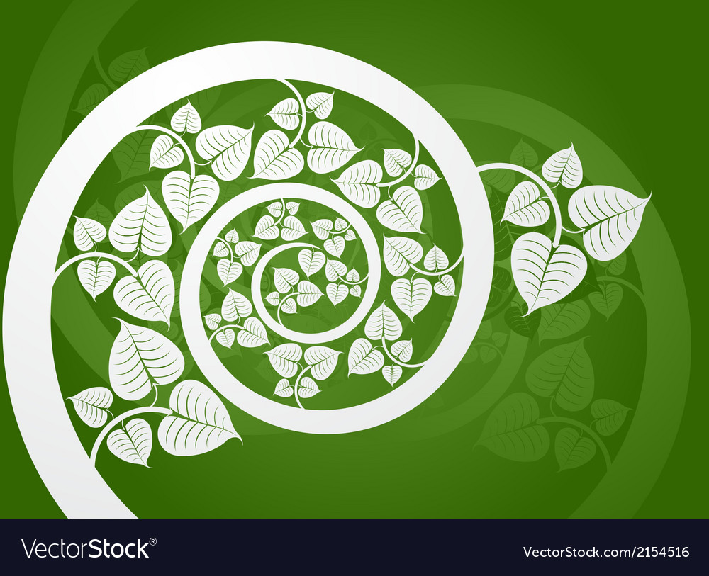 Silver patterned curve branch with leaf on a green vector | Price: 1 Credit (USD $1)