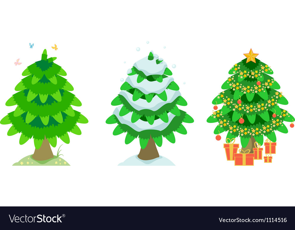 Spruce in the summer and winter and christmas vector | Price: 1 Credit (USD $1)
