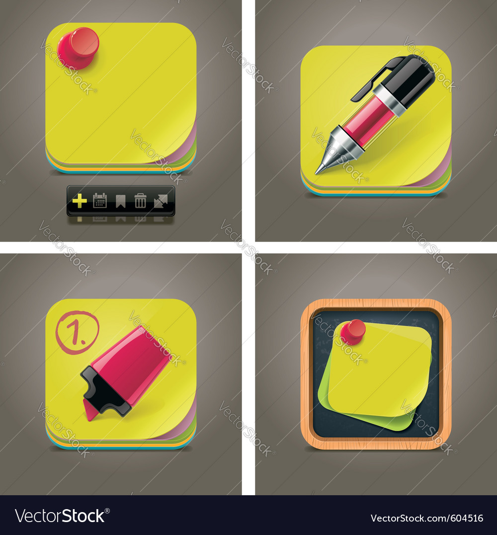 Sticky note icon set vector | Price: 3 Credit (USD $3)