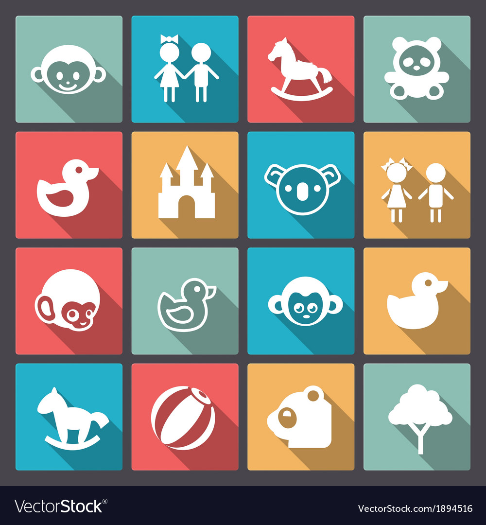 Zoo and animals icons in flat design vector | Price: 1 Credit (USD $1)