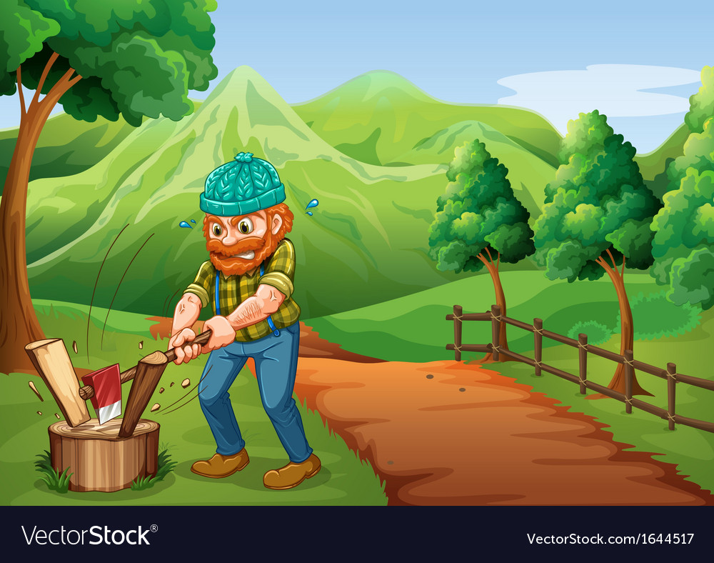 A lumberjack chopping the woods at the pathway vector | Price: 3 Credit (USD $3)