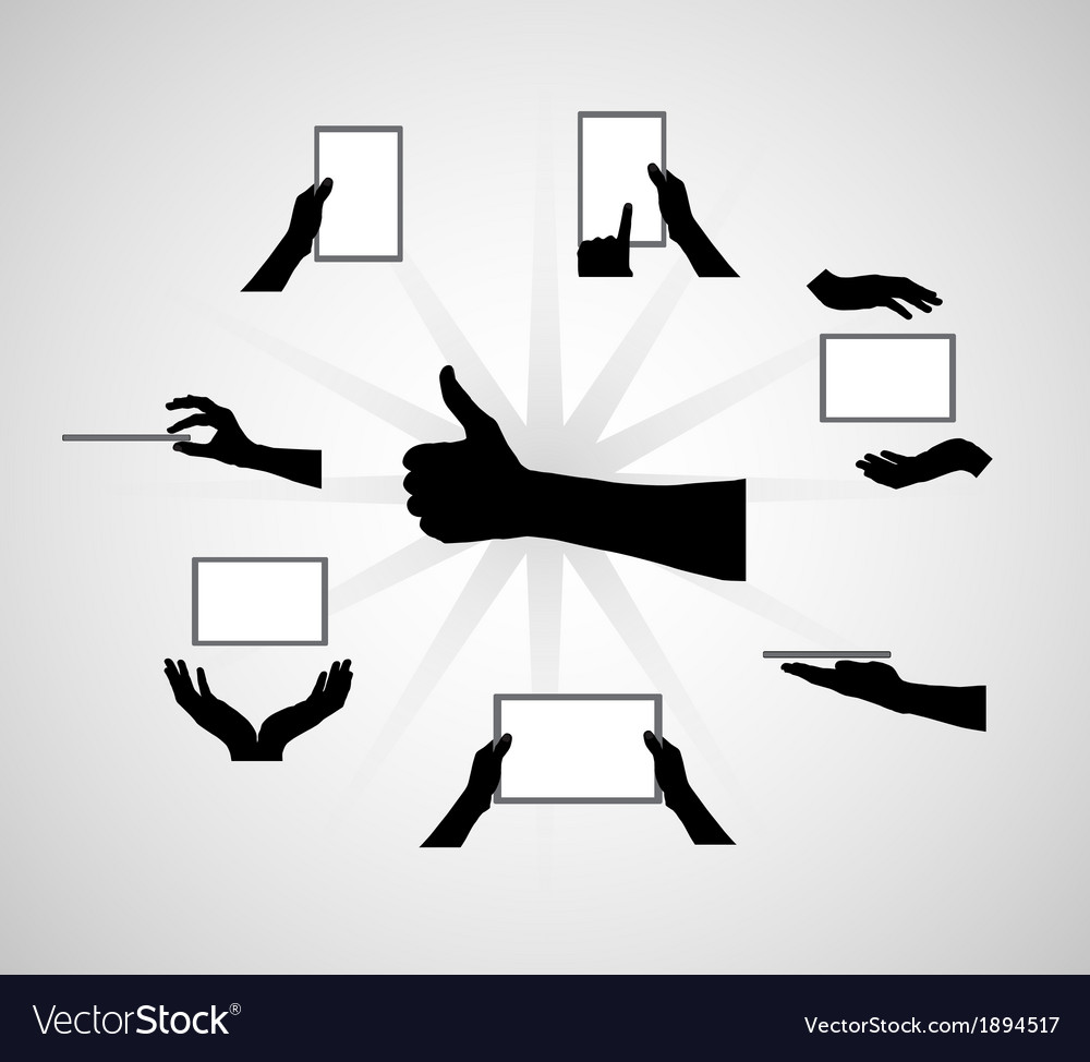 Black set of hand and digital tablet computer vector | Price: 1 Credit (USD $1)