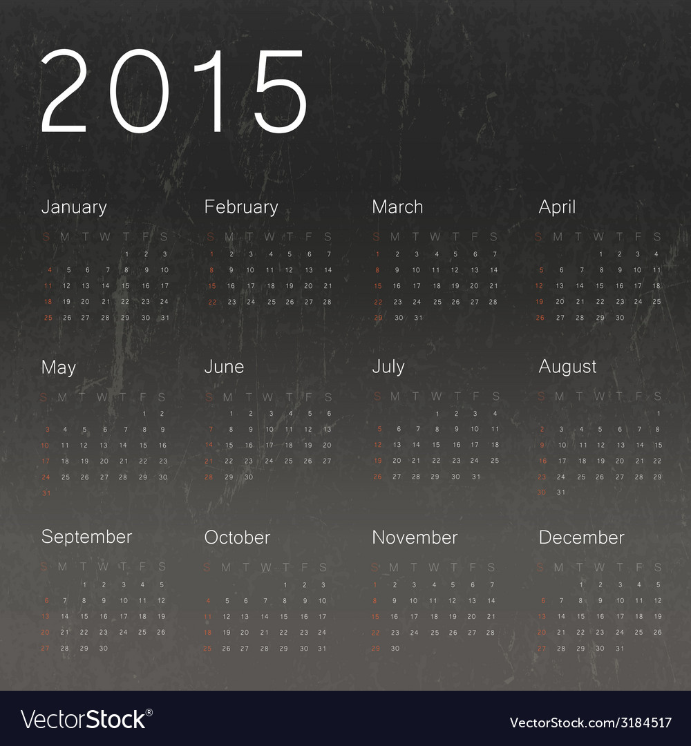 Calendar 2015 on black schoolboard texture vector | Price: 1 Credit (USD $1)