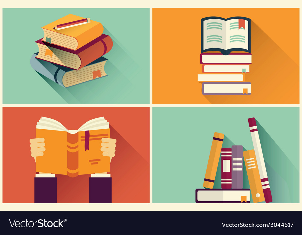 Set of books in flat design vector | Price: 1 Credit (USD $1)