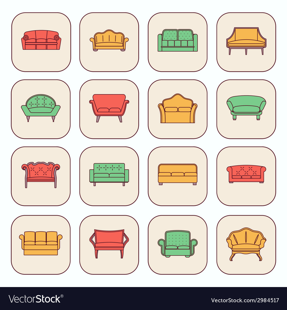 Sofa icon set vector | Price: 1 Credit (USD $1)
