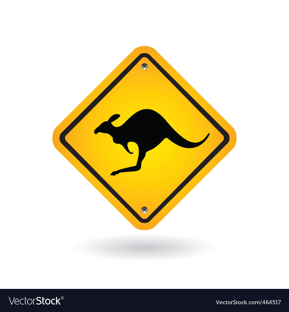 Yellow sign with kangaroo vector | Price: 1 Credit (USD $1)
