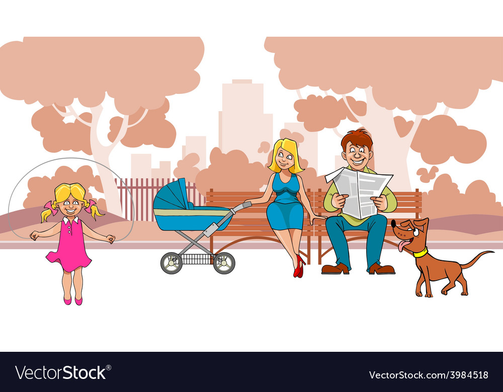 Cartoon ideal family are in the park vector | Price: 3 Credit (USD $3)