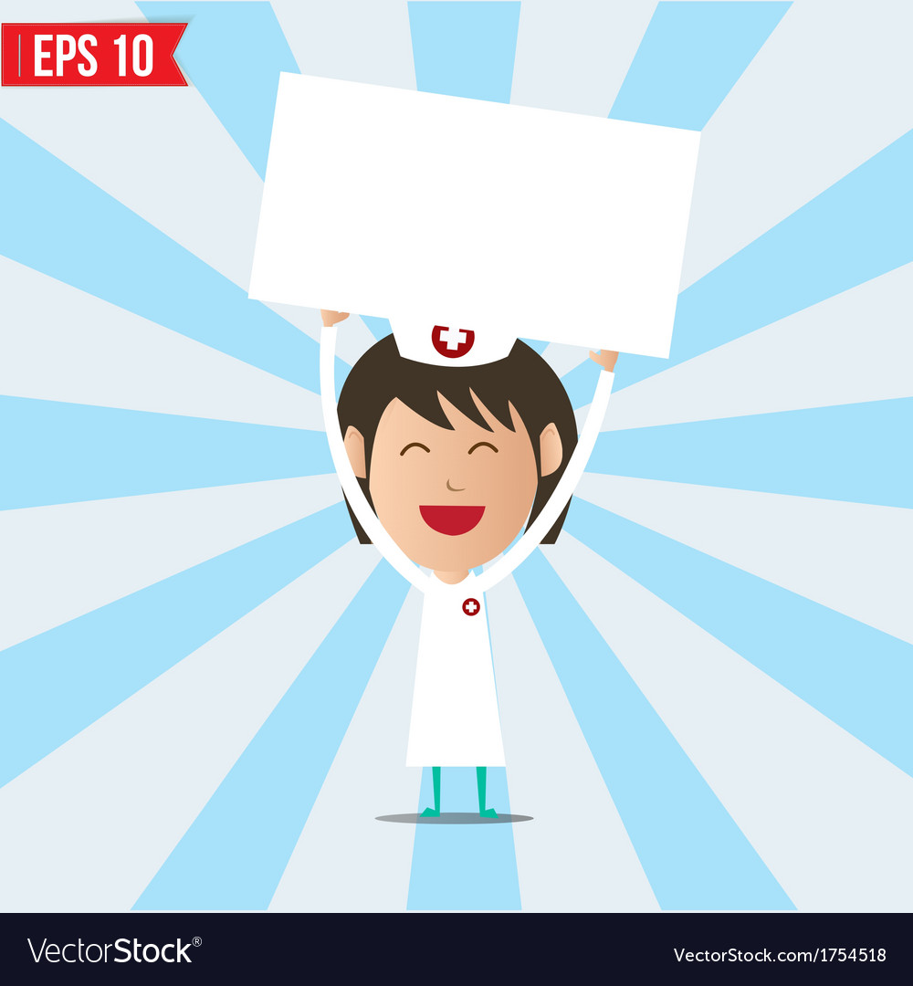 Cartoon nurse showing white board - - eps10 vector | Price: 1 Credit (USD $1)