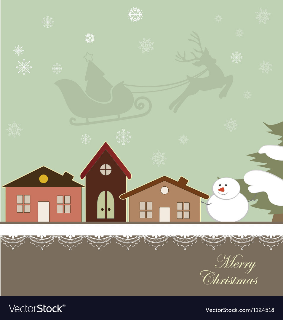 Christmas card with a winter town vector | Price: 1 Credit (USD $1)