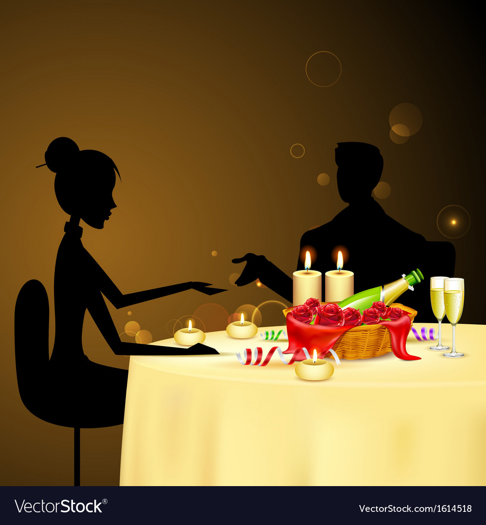 Couple taking candle light dinner vector | Price: 1 Credit (USD $1)