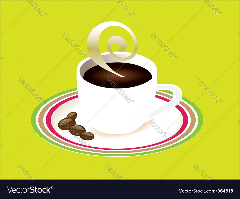 Cup of coffee and saucer vector | Price: 1 Credit (USD $1)