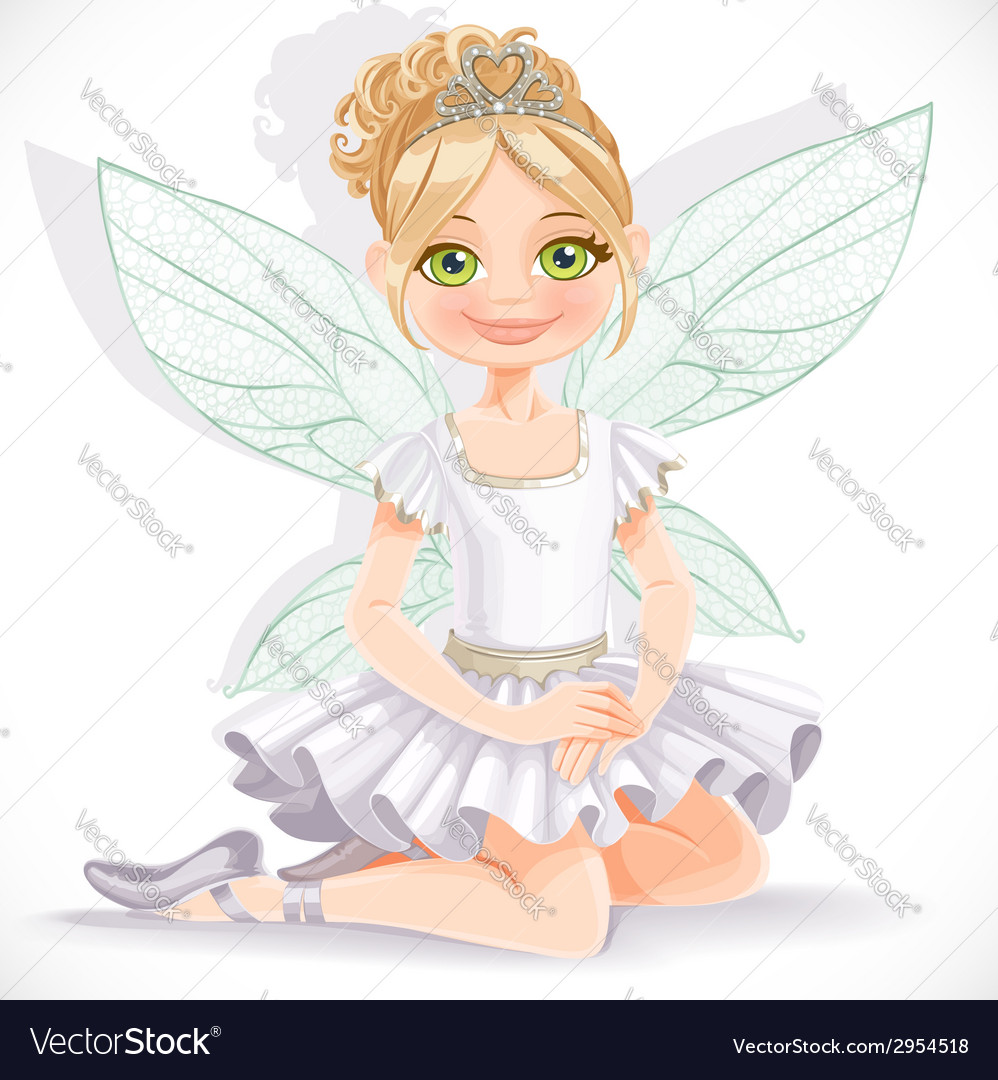 Cute fairy girl in white dress and tiara sit on vector | Price: 3 Credit (USD $3)