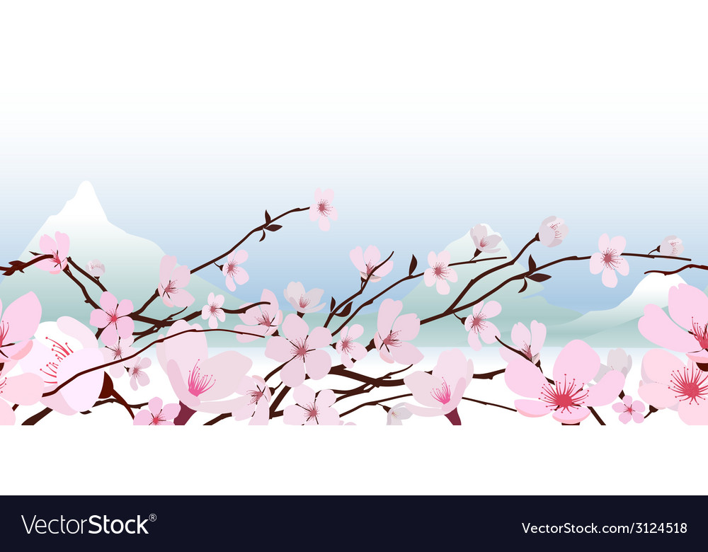 Delicate pink spring blossom vector | Price: 1 Credit (USD $1)