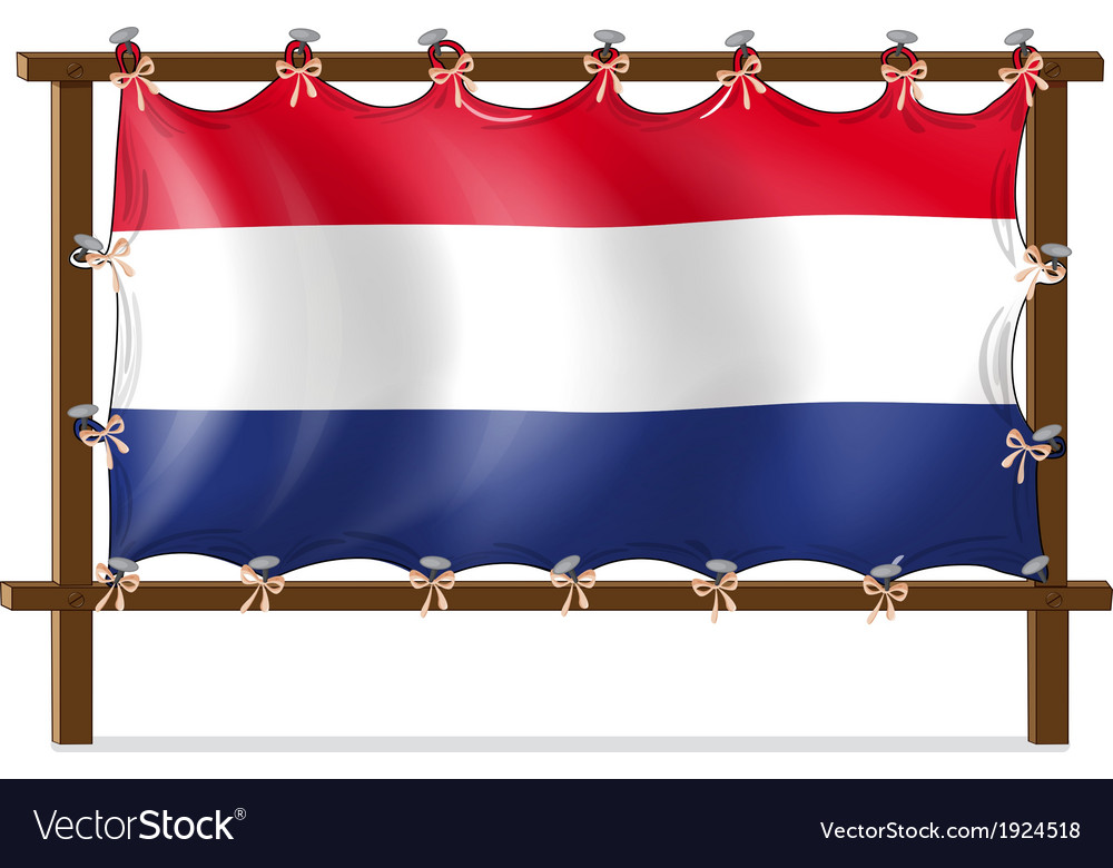 The flag of netherlands attached to the wooden vector | Price: 1 Credit (USD $1)