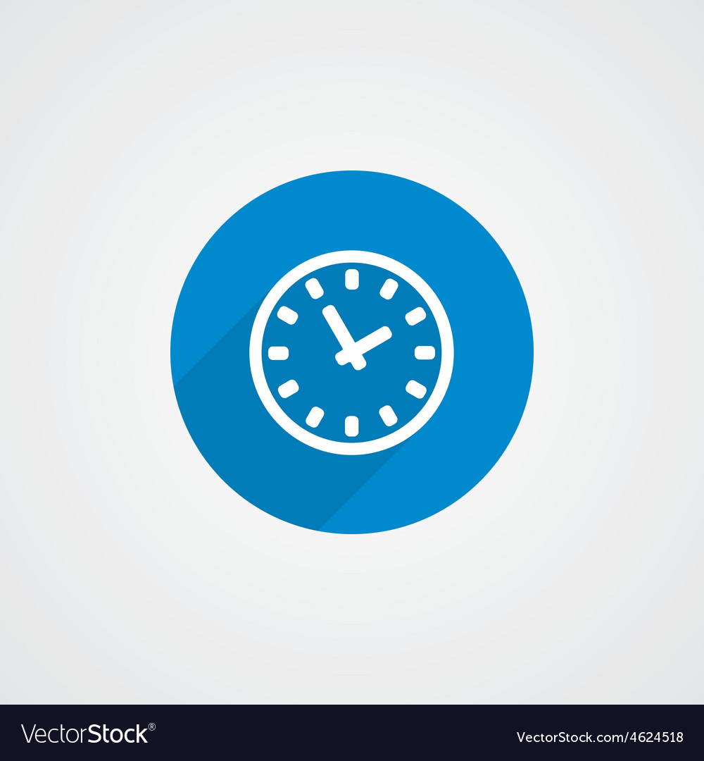 Flat blue time icon vector