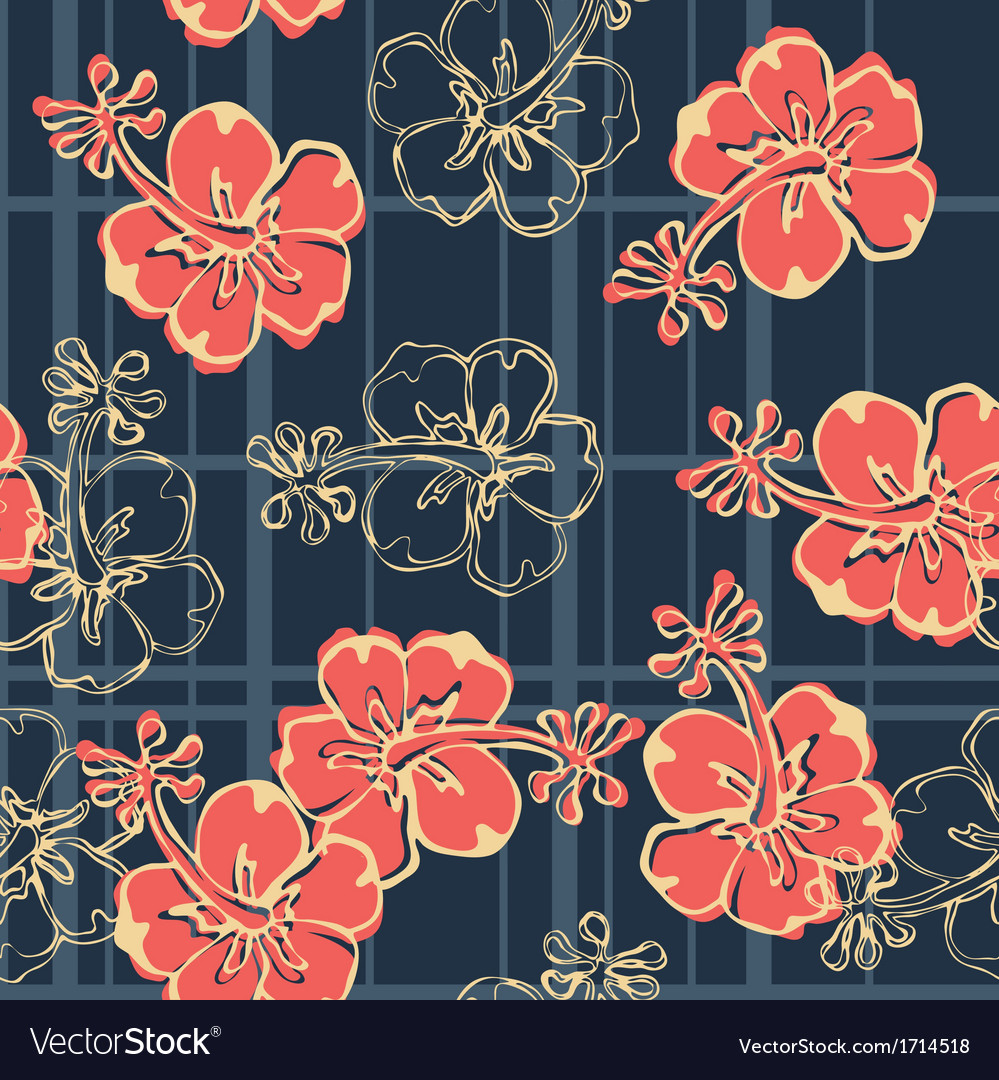 Hibiscus flowers wallpaper vector | Price: 1 Credit (USD $1)