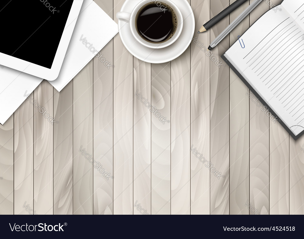 Office workspace - coffee tablet paper and some vector   Price: 3 Credit (USD $3)