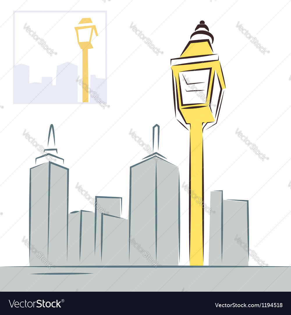 Retro street lantern and modern city skyline vector | Price: 1 Credit (USD $1)