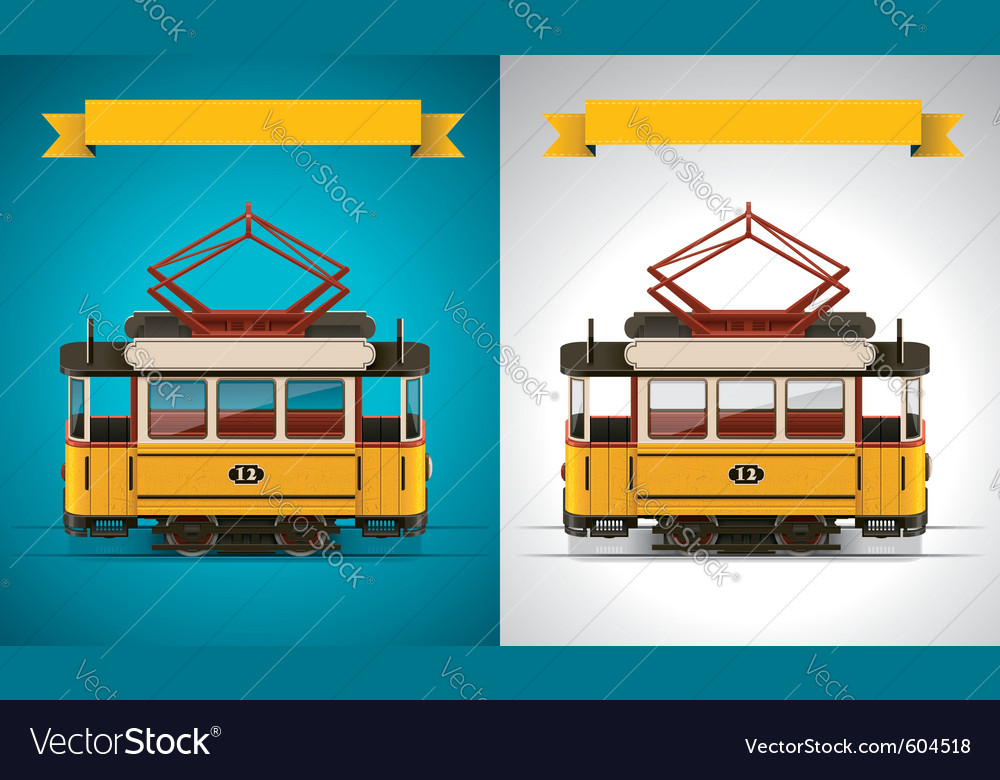 Retro tram xxl icon vector | Price: 5 Credit (USD $5)