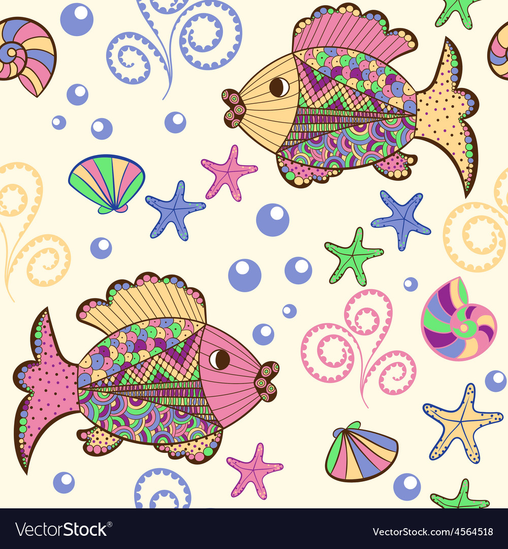 Seamless pattern with cartoon sea creatures vector | Price: 1 Credit (USD $1)