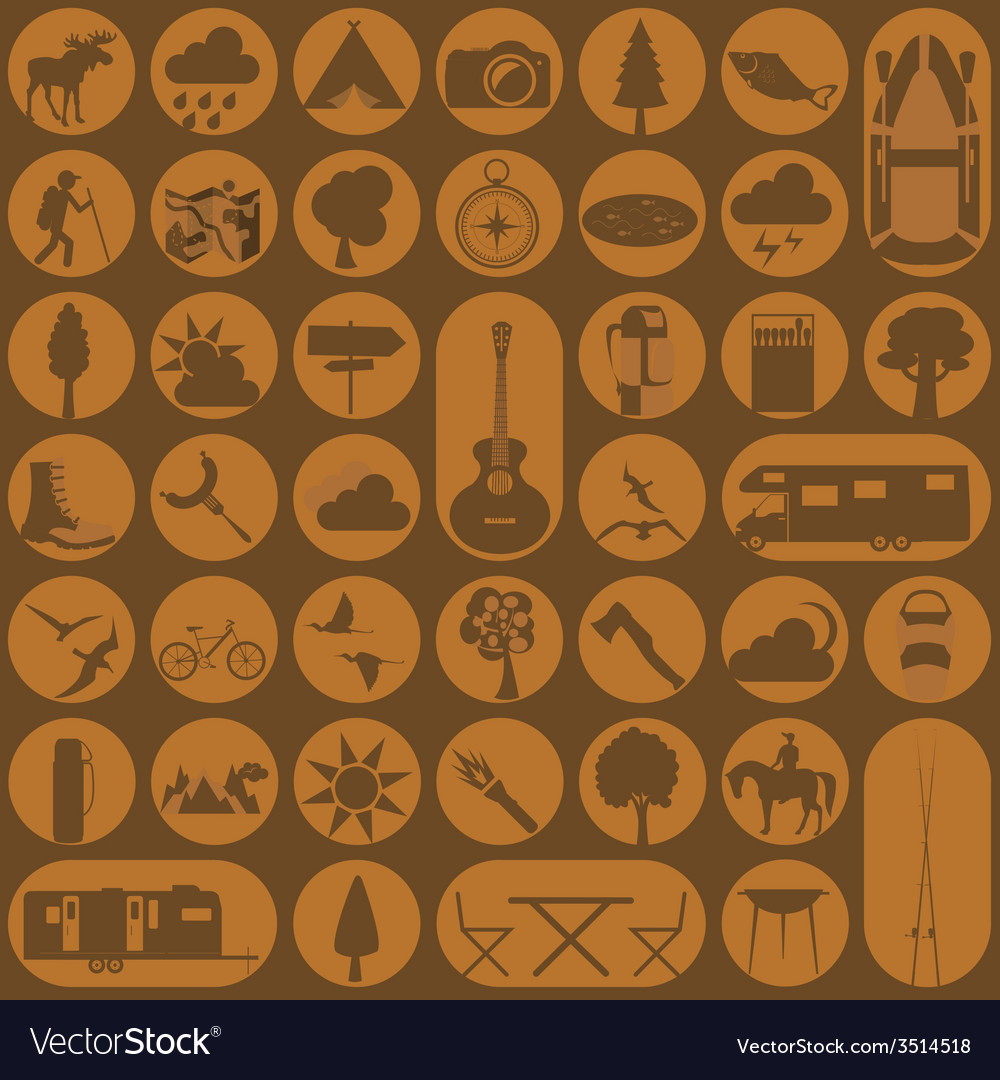 Set camping icon hiking outdoors vector | Price: 1 Credit (USD $1)
