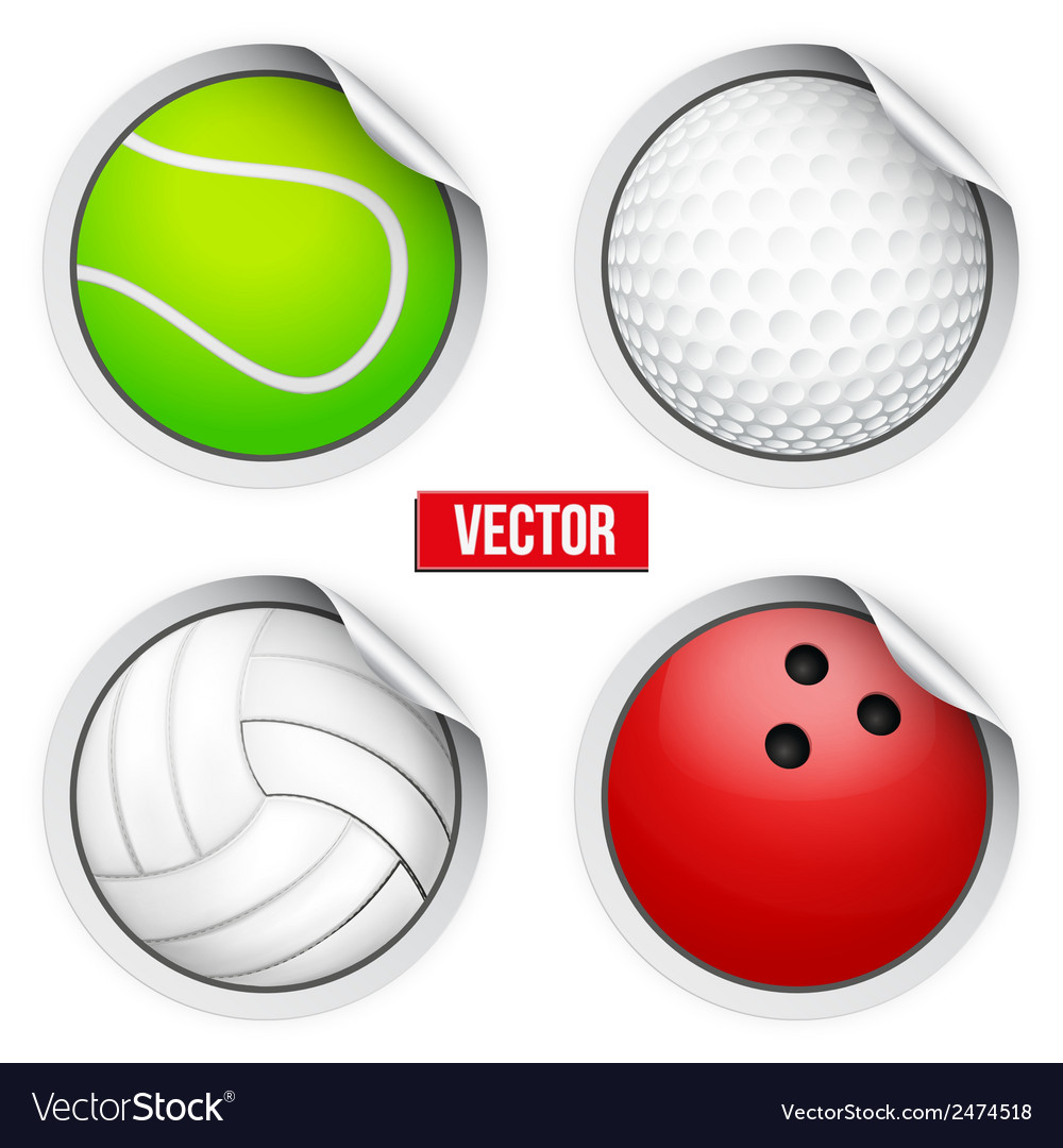 Sports round stickers balls with shadows equipment vector | Price: 1 Credit (USD $1)