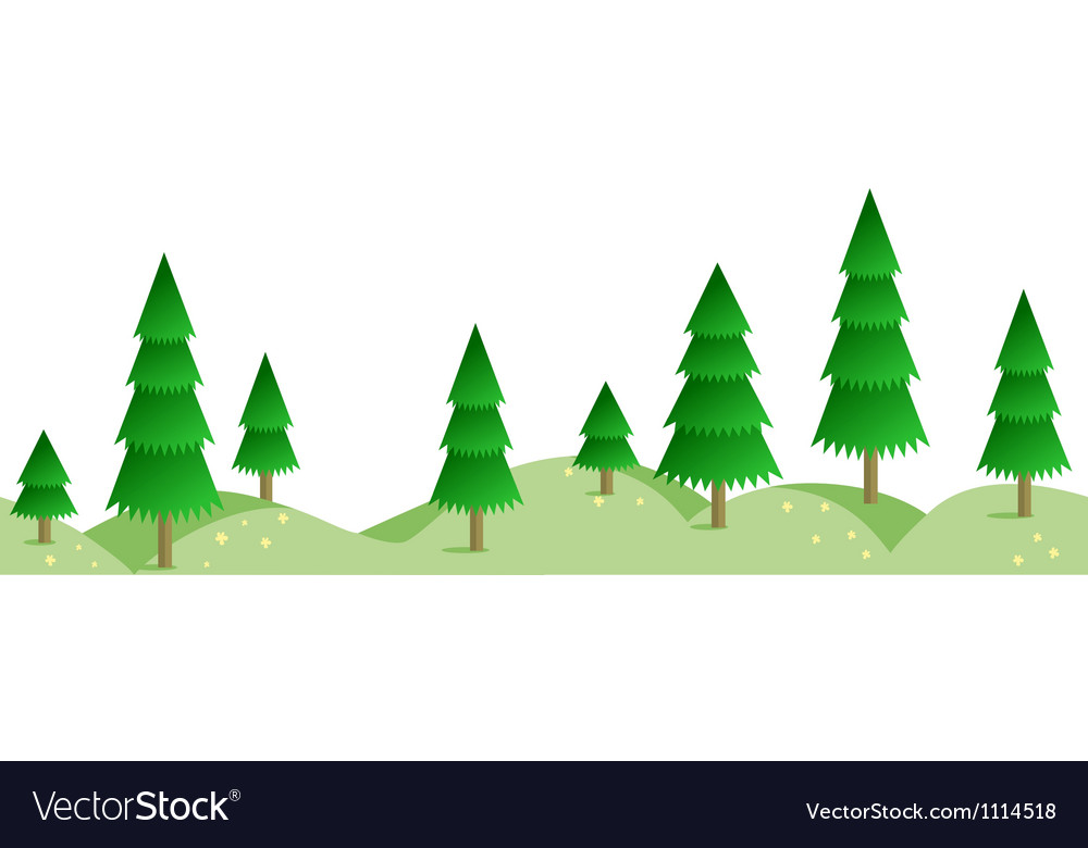 Spruce summer forest in horizontal seamless border vector | Price: 1 Credit (USD $1)