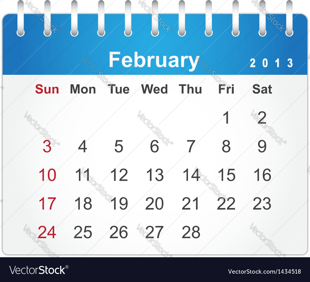 Stylish calendar page for february 2013 vector | Price: 1 Credit (USD $1)