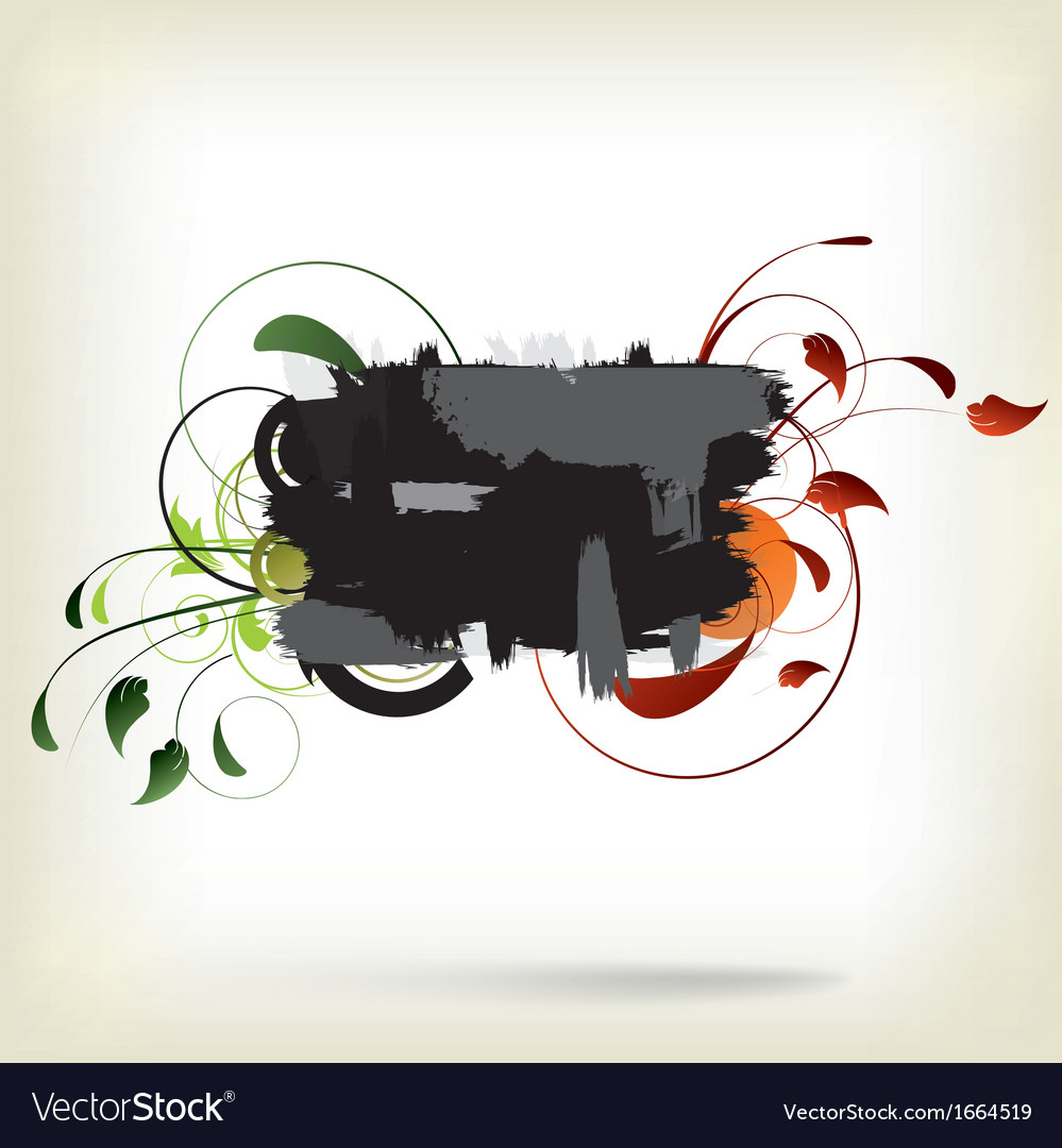 Abstract background with splash and floral vector | Price: 1 Credit (USD $1)
