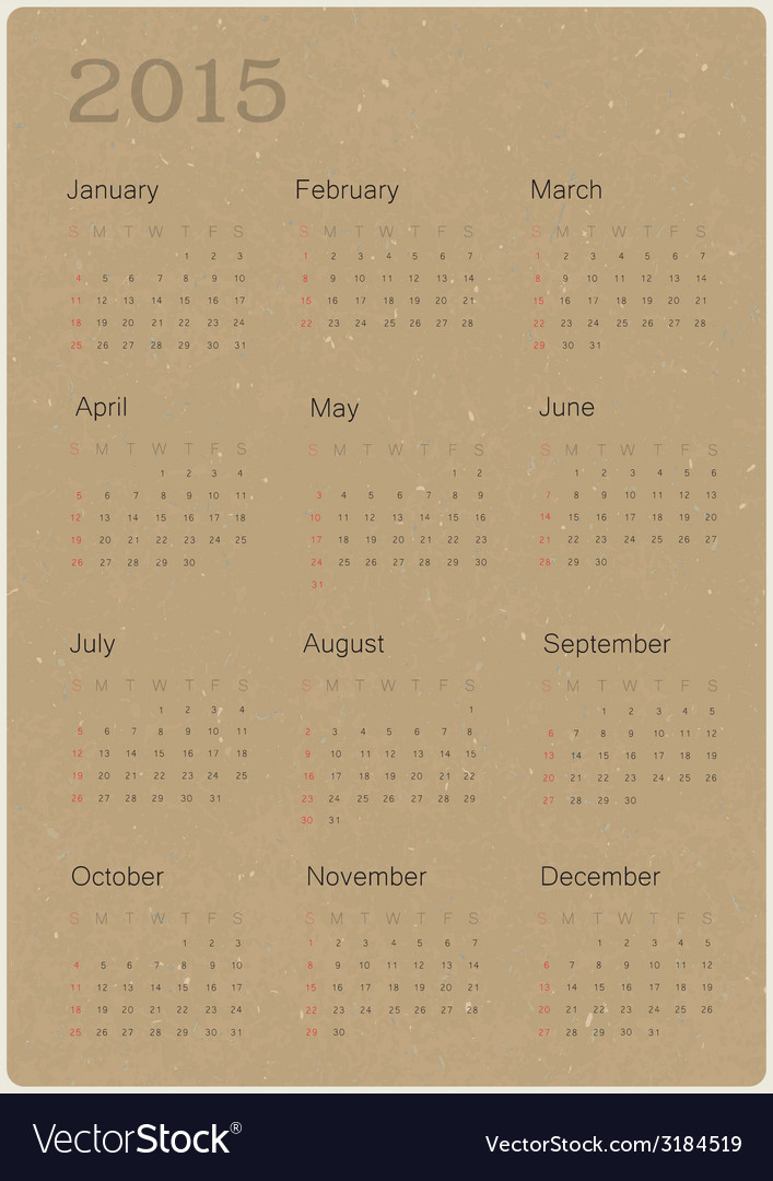 Calendar 2015 on paper recycled vector | Price: 1 Credit (USD $1)