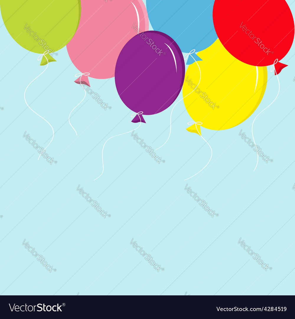 Colorful balloon set in the sky greeting card back vector | Price: 1 Credit (USD $1)