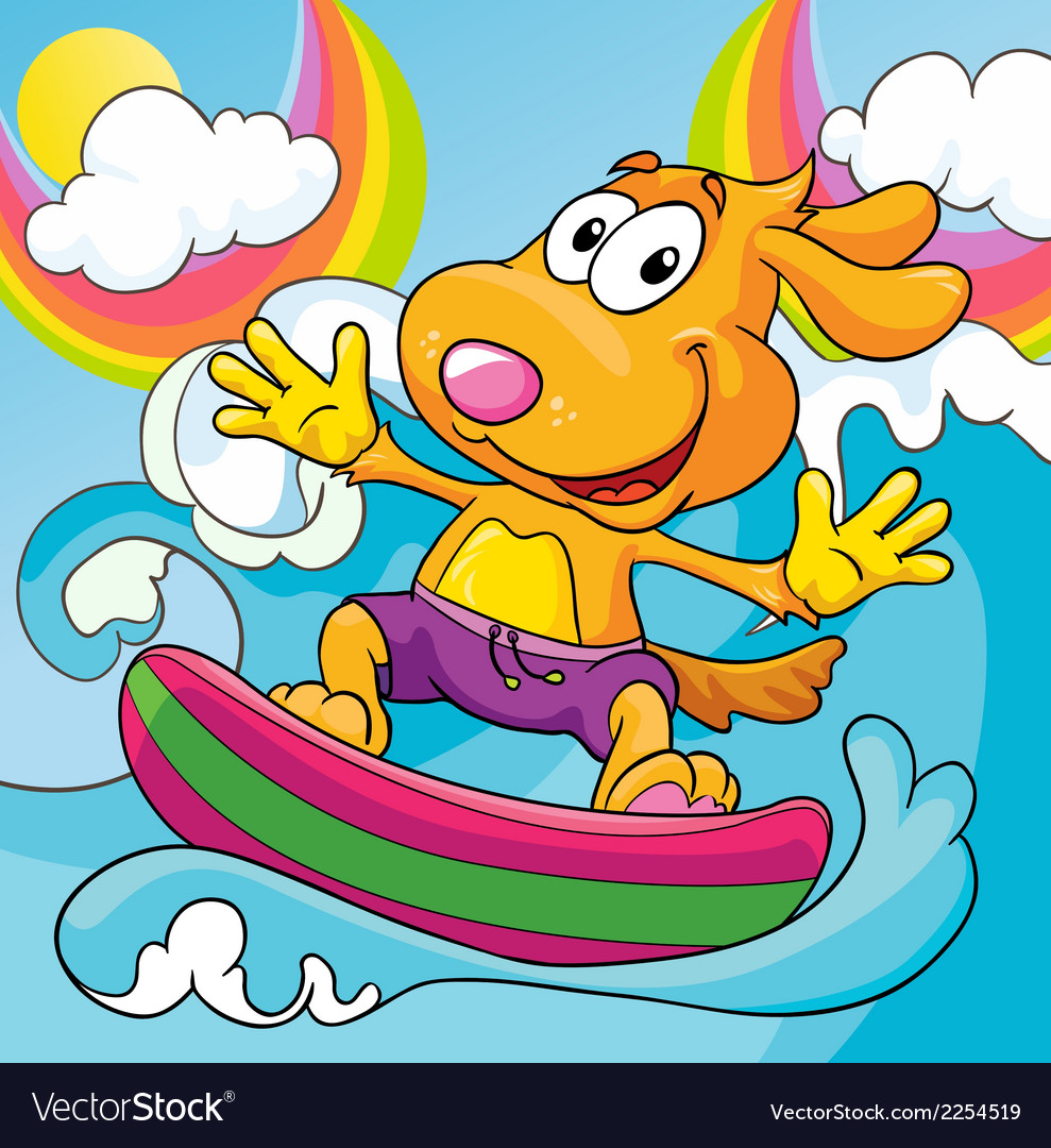 Dog in the surf on a colored background vector | Price: 1 Credit (USD $1)