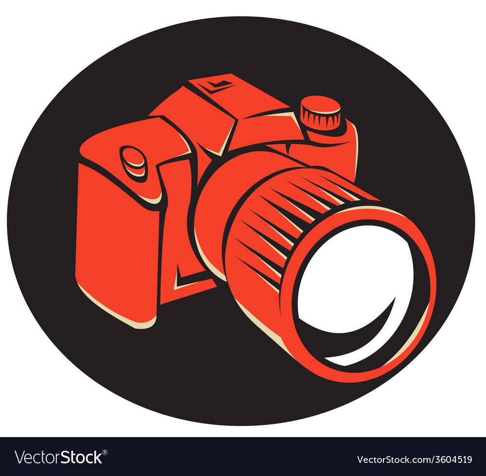 Dslr digital camera front retro vector | Price: 1 Credit (USD $1)