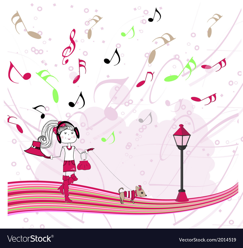 Girl listening to music vector   Price: 1 Credit (USD $1)