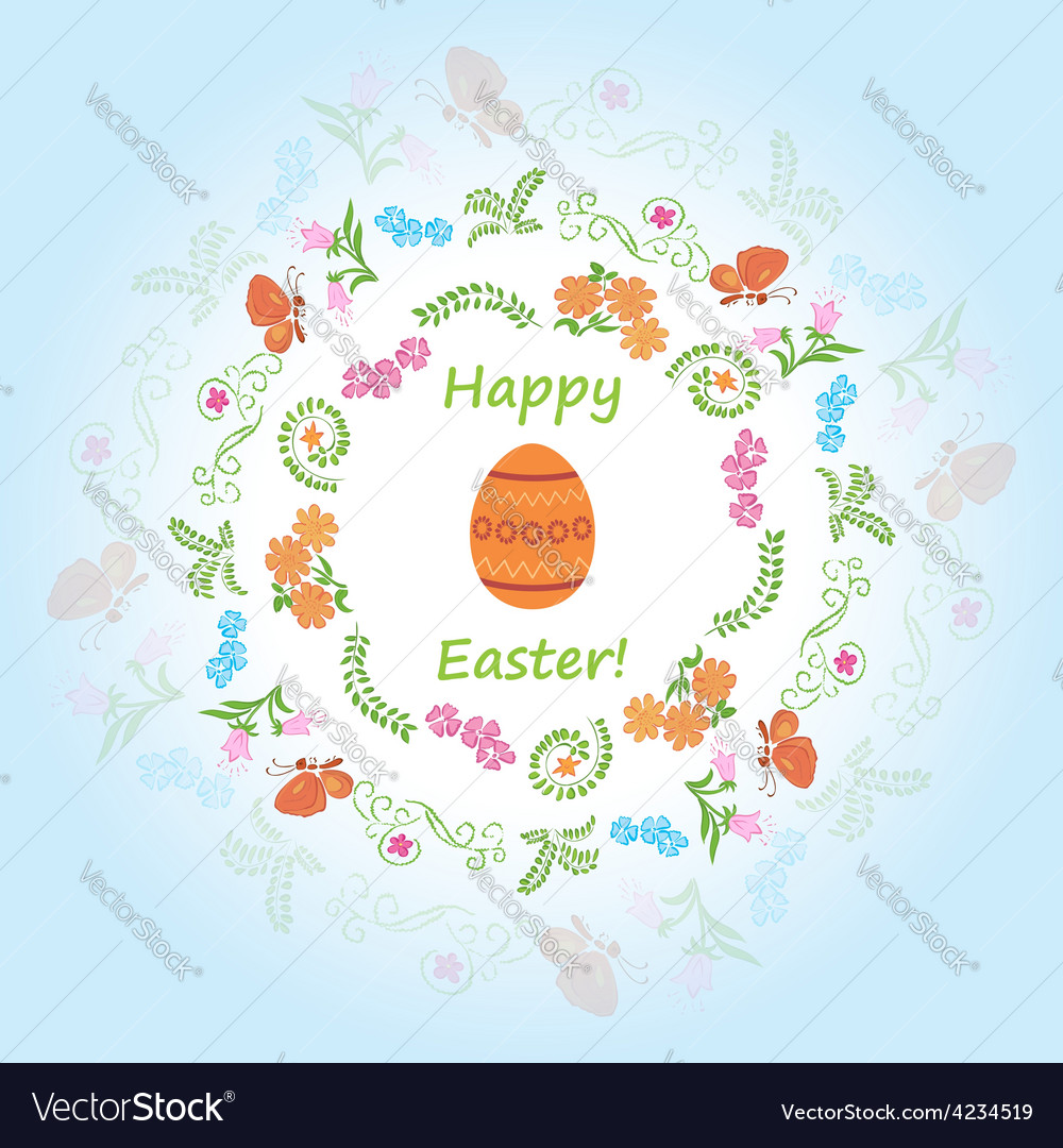 Light blue background - happy easter vector | Price: 1 Credit (USD $1)