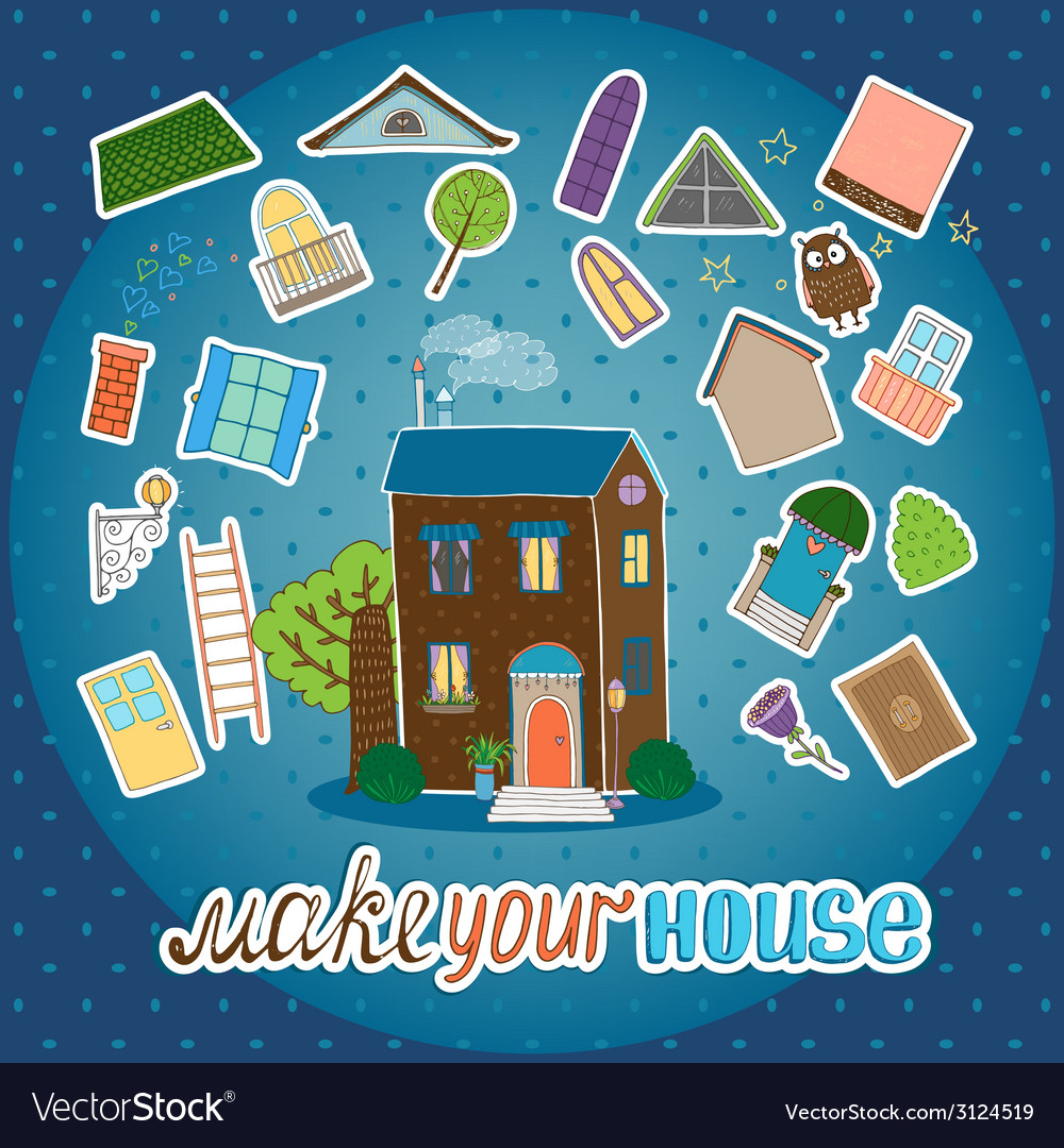 Make your house - night version vector | Price: 1 Credit (USD $1)