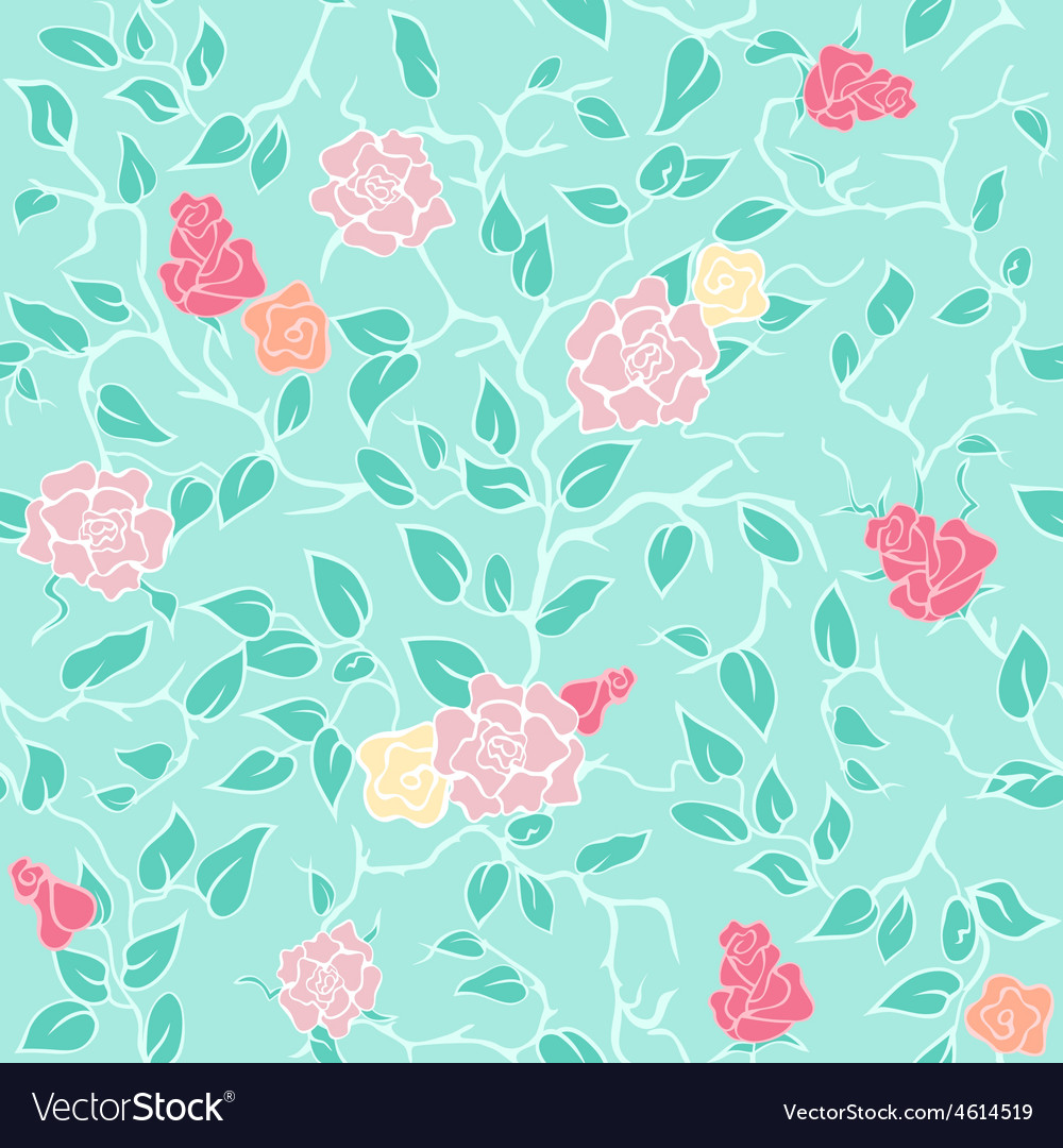 Mint seamless pattern with pink roses and vector | Price: 1 Credit (USD $1)