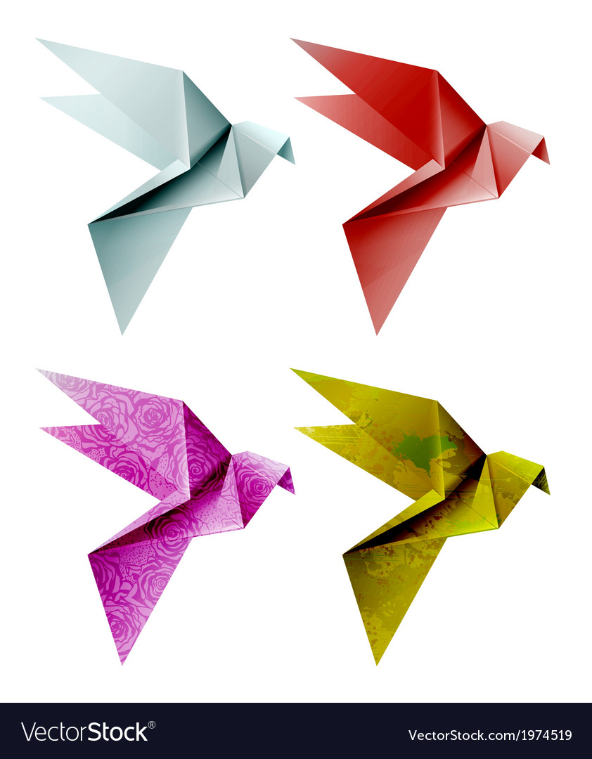 Set of colorful origami bird eps 10 vector   Price: 1 Credit (USD $1)