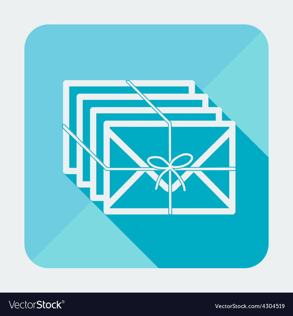 Single flat square mail icon with long shadow vector | Price: 1 Credit (USD $1)