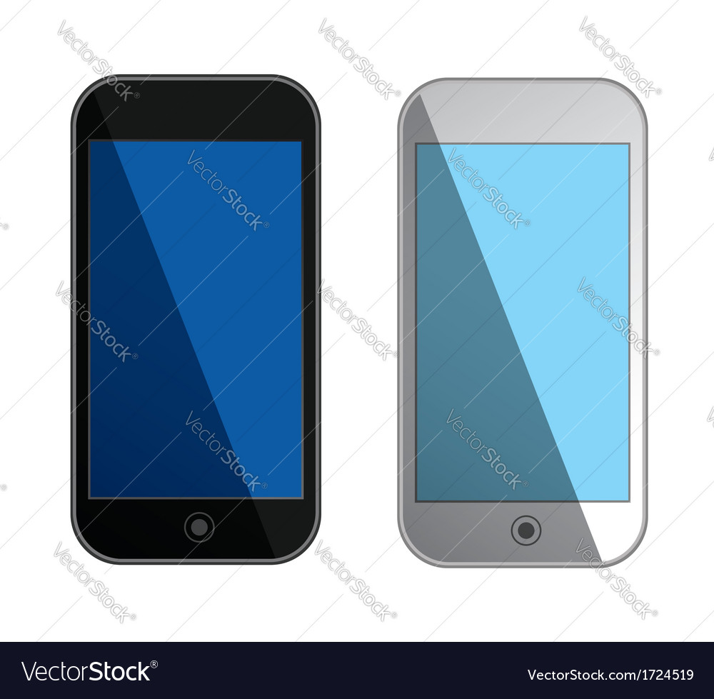 Smartphones with blue screens - isolated vector | Price: 1 Credit (USD $1)