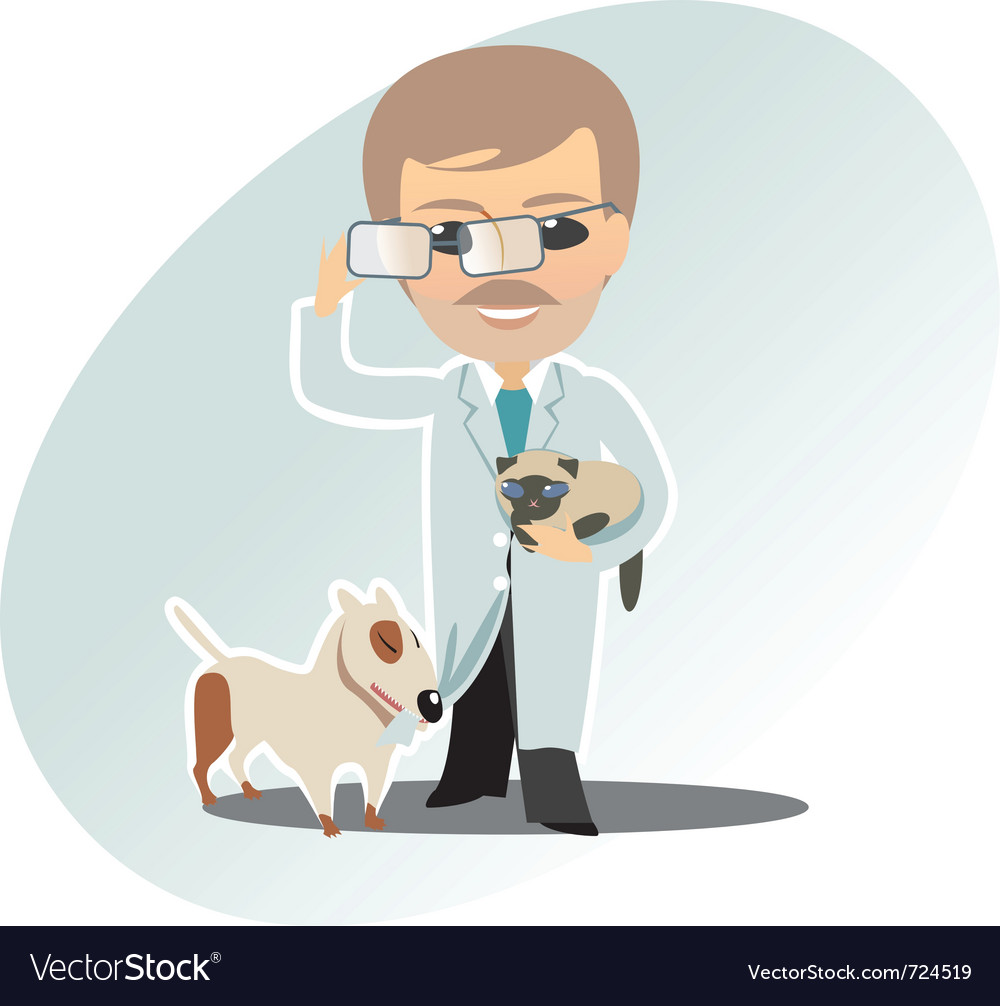 Veterinary man cat and dog vector | Price: 1 Credit (USD $1)