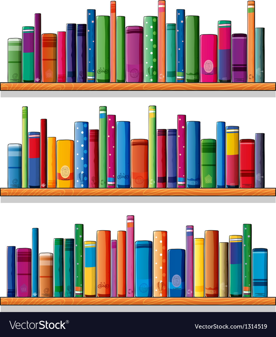 Wooden shelves with books vector | Price: 1 Credit (USD $1)