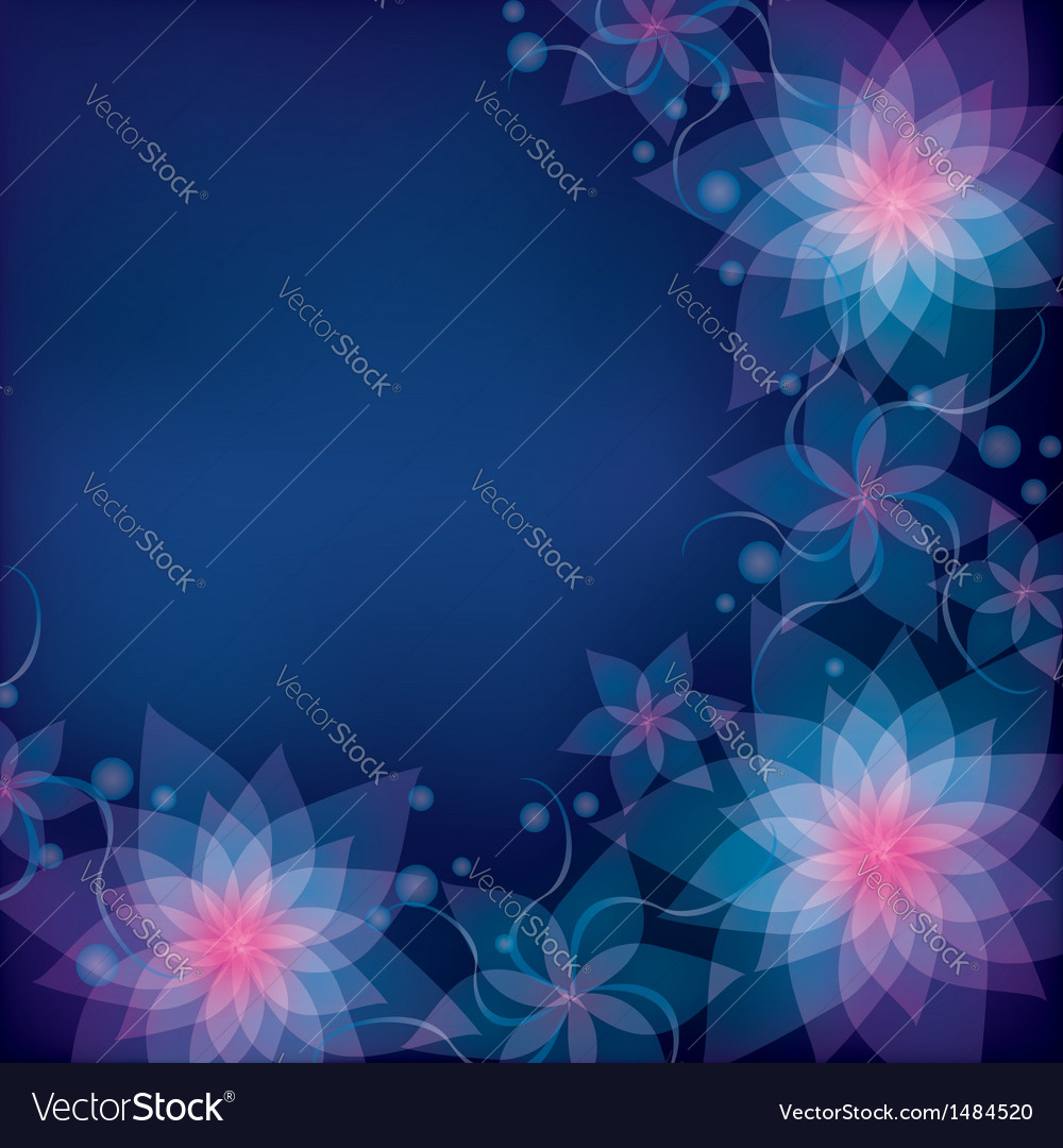 Abstract blue purple floral background with vector