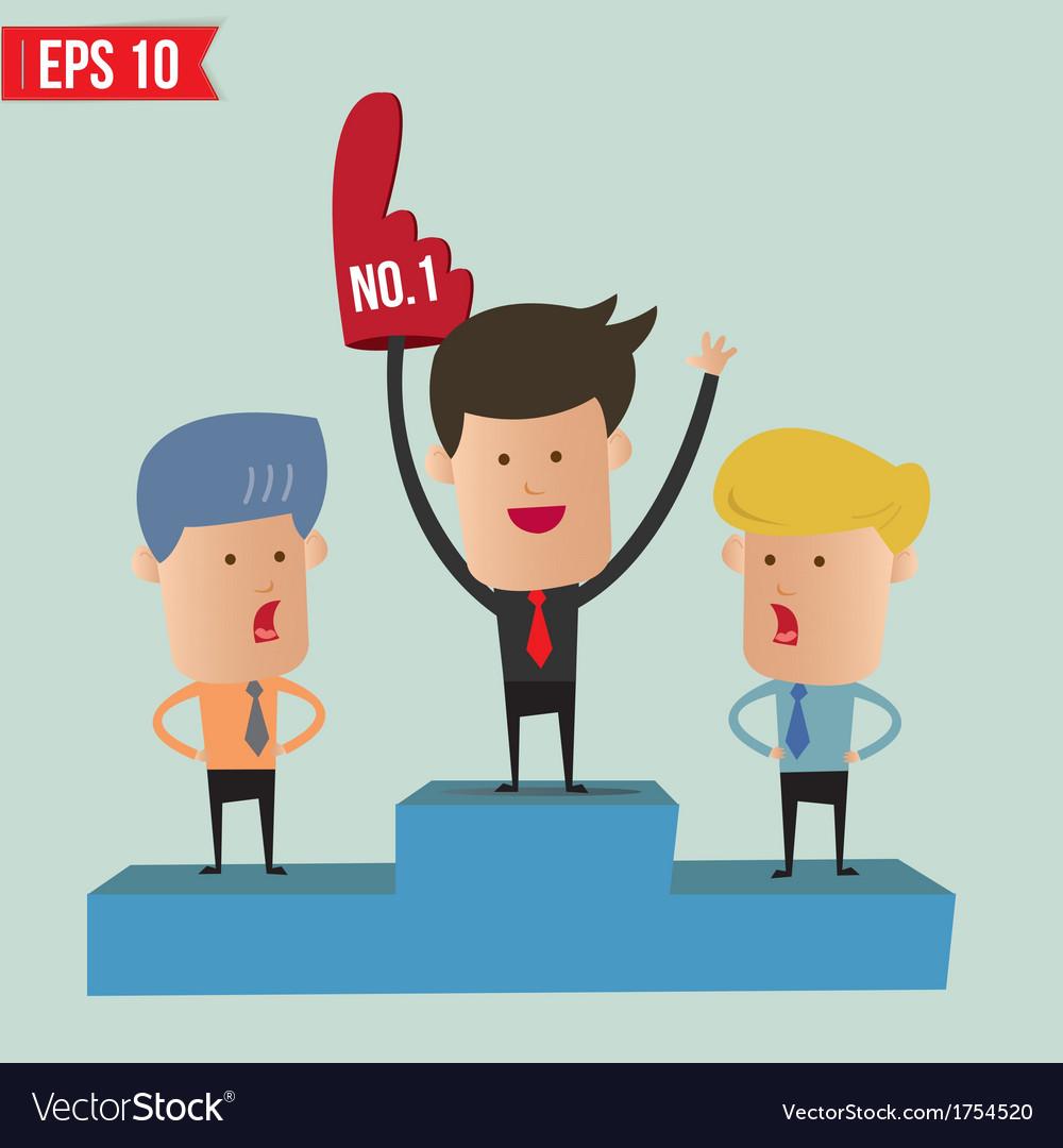 Business man on winner podium - - eps10 vector | Price: 1 Credit (USD $1)