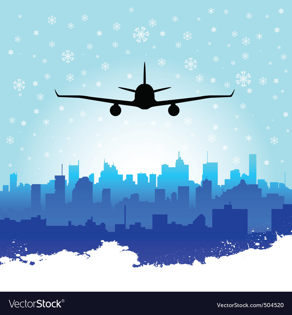 City with airplane vector | Price: 1 Credit (USD $1)