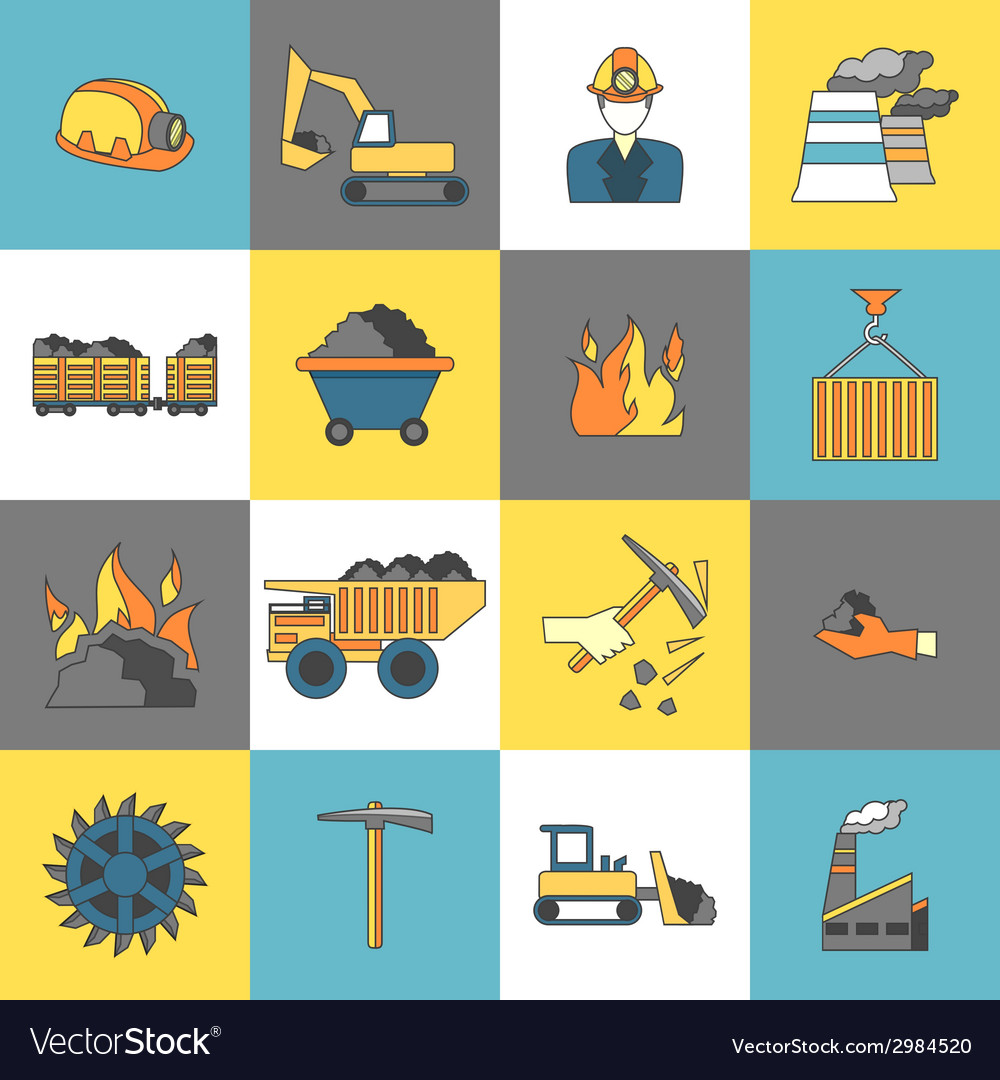 Coal industry icons flat line vector | Price: 1 Credit (USD $1)