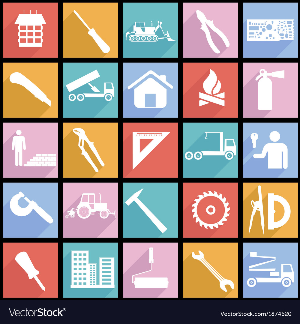 Collection flat icons with long shadow vector   Price: 1 Credit (USD $1)