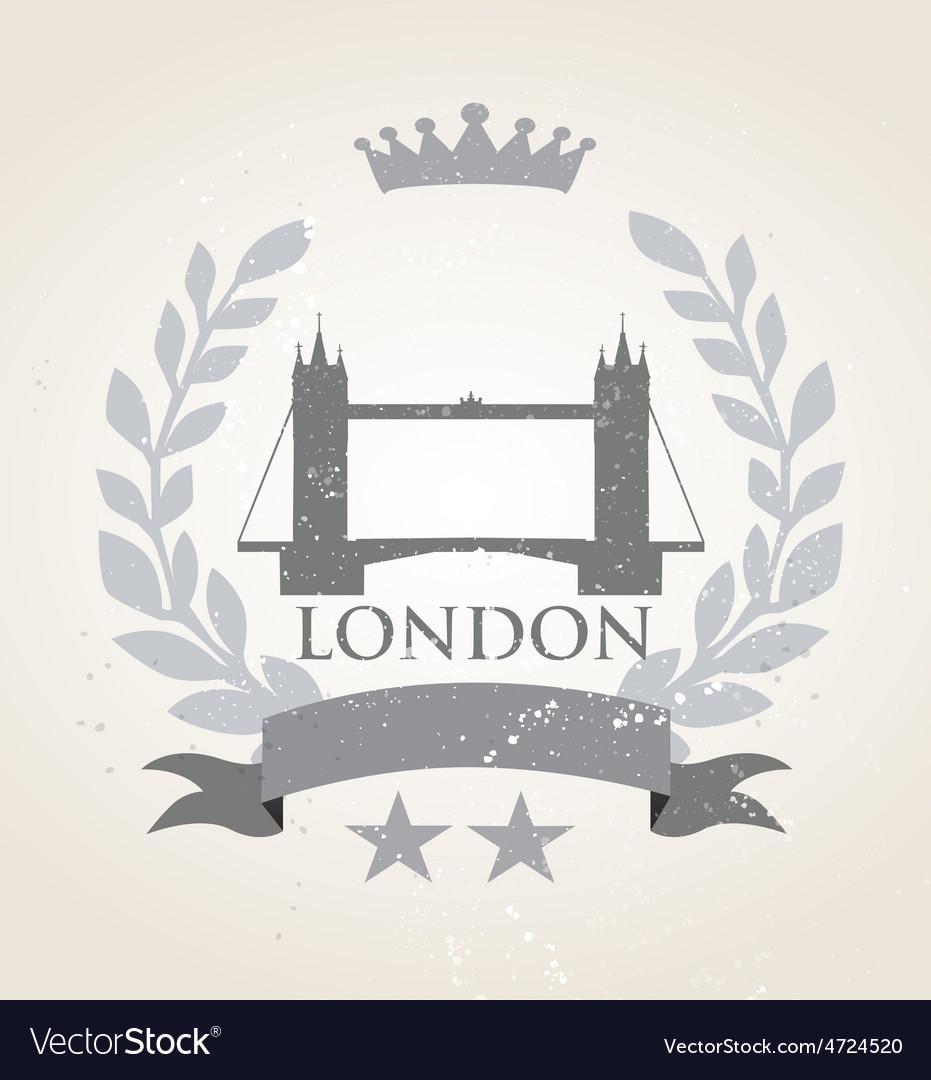 Grunge london icon laurel weath vector | Price: 1 Credit (USD $1)
